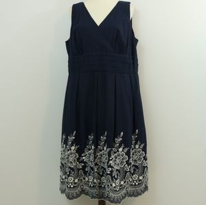 Connected Woman Navy Cotton Embroidered Dress